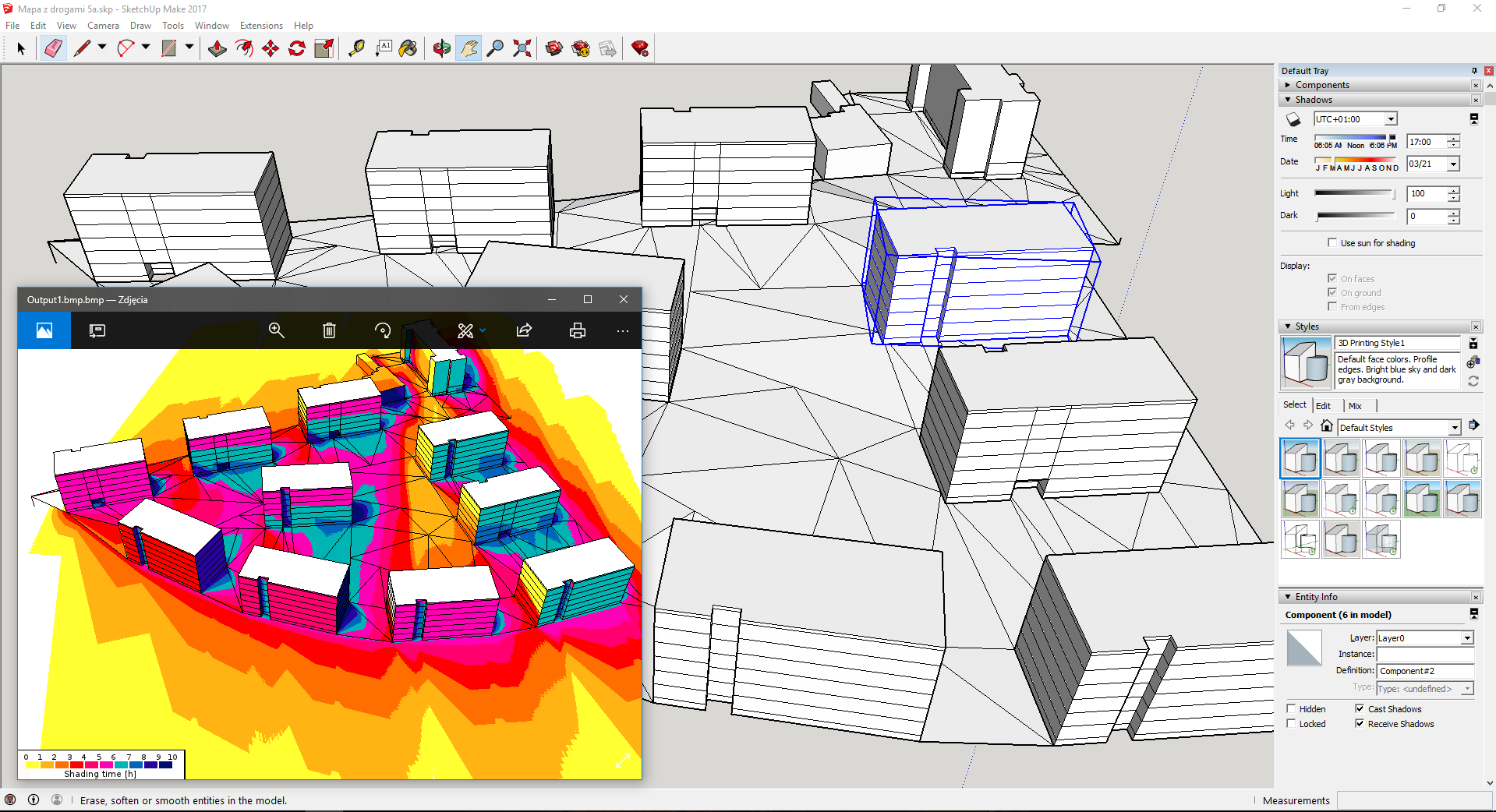 Insolation analysis and building shape optimization