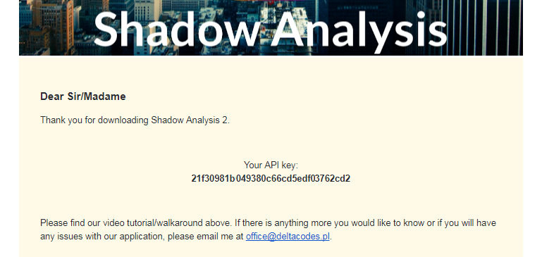 Where to find API Key for Shadow Analysis 2
