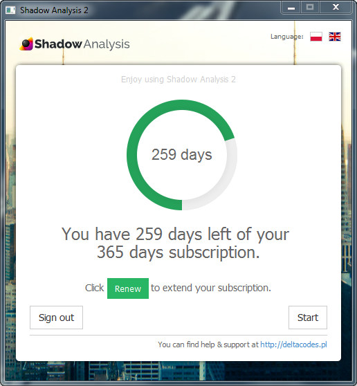 Shadow Analysis 2 - Welcome screen - Registered Copy