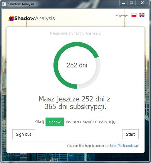 Shadow Analysis 2 - Ekran powitalny