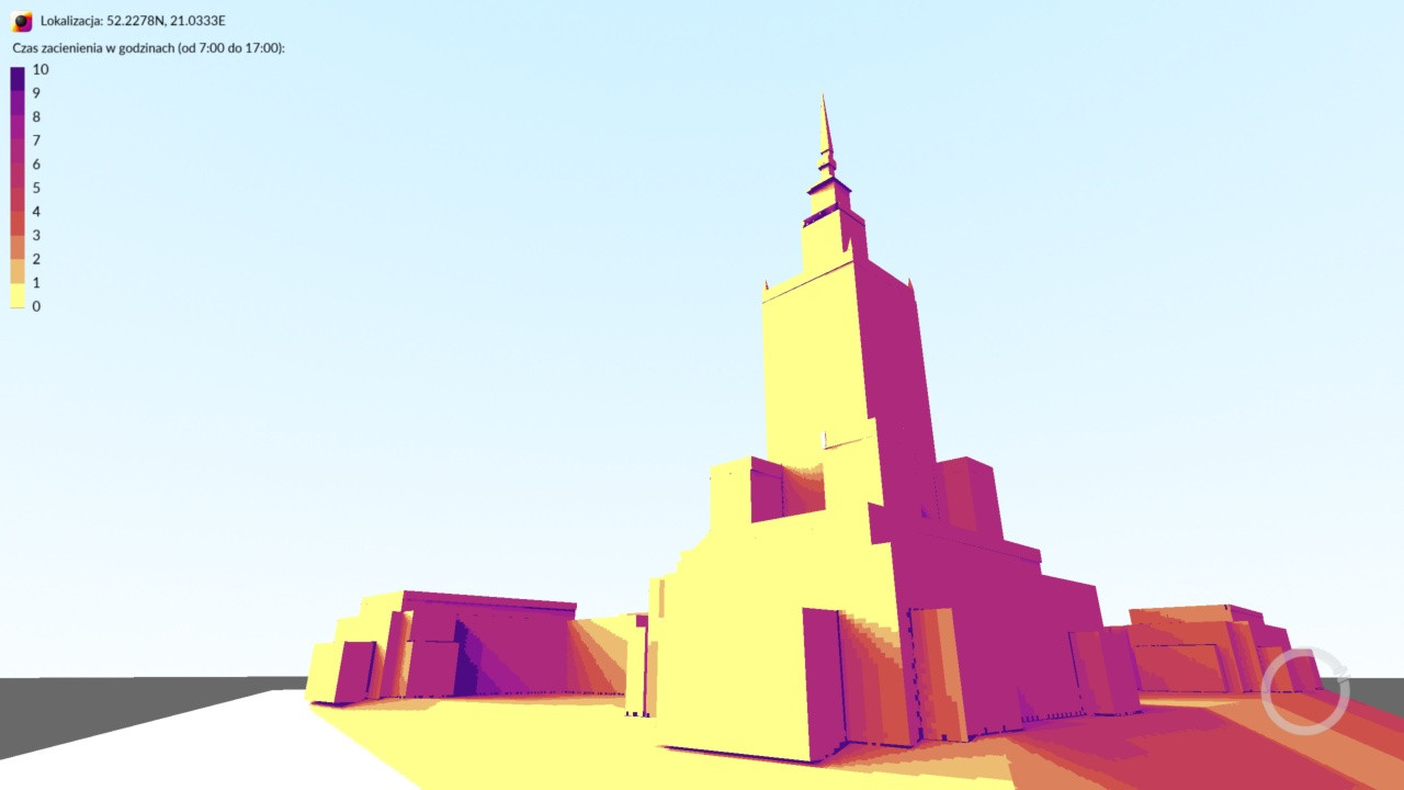 Shadow Analysis 2 - Palace of Culture and Science in Warsaw, Poland